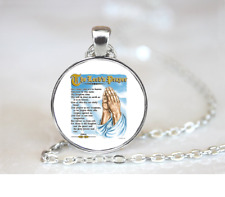 The Lord's Prayer PENDANT NECKLACE Chain Glass Tibet Silver Jewellery