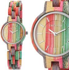 Damenuhr Armbanduhr Holzuhr Bambus Mehrfarbig bunt 180/194 Excellanc