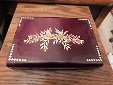 Handpainted wooden wood trinket or jewelry box Floral design