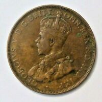 Australia 1 One Penny 1922  George V Large Copper Bronze Coin Commonwealth