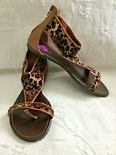 ee859a4bc177 BAMBOO 8.5 M Brown Animal Print Back Zip Sandals w/Leather Insole Flats