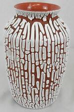 Weiß lasierte, Vase, Rund, braun, ca. 20 cm, Neu