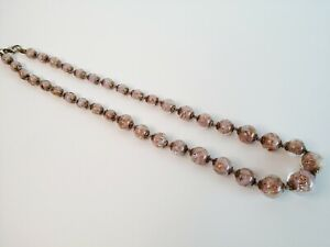 Venetian Murano Glass Pink/Gold Necklace 52cm Lobster Clasp Costume Jewellery
