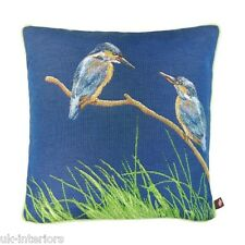 """19"""" Kingfishers Blue cotton French Woven Tapestry Cushion 50cm Kingfisher Bird"""