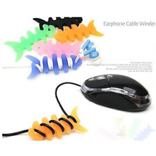10pc Fish Bone Silicone Earbud Earphone Cord Cables Wrap Winder Wire Holders POP