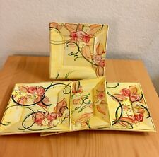 """Hand Painted Brigitte 8. 2"""" Square Salad Plate Set of 4  French plate Spring"""