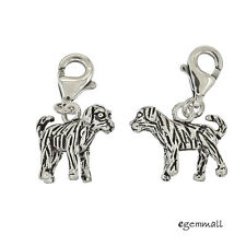 1PC Antique Sterling Silver Dog Clip On European Pendant Charm #94384