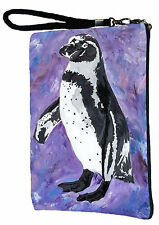 Penguin Pouch Wristlet with detachable strap - From my orginal Painting