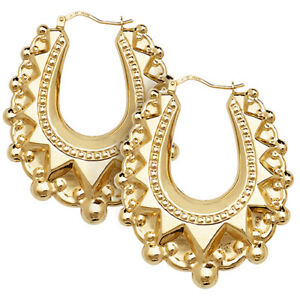 9ct Yellow Gold Large Fancy Design Ladies Creoles Earrings NEW 47x40mm 6.5gr
