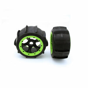Rear sand wheel Tire with Green beadlock set fit 1/5 RC HPI baja 5B