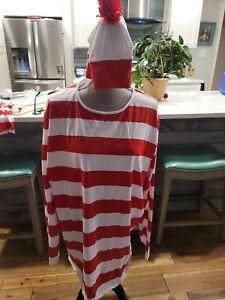 Where's Waldo Adult Costume size XL Halloween Cosplay Costume