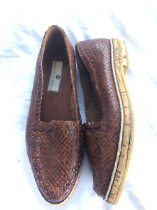 Vintage Saks Fifth Ave 6.5 Brown Woven Leather Loafer Cork Rubber Sole Slip-on