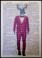 Stag Red Tartan Vintage Dictionary Wall Art Picture Print Deer Animal In Clothes