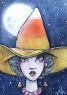 ACEO Original Fantasy Sketch FoGG art atc card 2.5 x 3.5 Witch