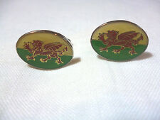 Welsh flag dragon enamel cuff links  Red dragon on green/white  NEW