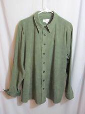 Denim & Co  Sage Green Blouse Top Jacket Brushed Long Sleeve Stretch Large *