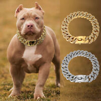 Big Dog Choke Chain Collar Heavy Duty Crystal Cuban Link Thick Stainless Steel