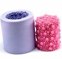 3D Bubble Cylinder Candle Mold Silicone Cake Decorating DIY Wax Pillar Soap Mold