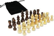 DA VINCI Staunton Wood Chess Pieces 32 Chessmen and Storage Bag (3 Inch King)
