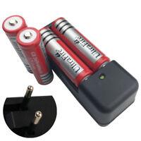 4pcs 18650 6800mAh Li-ion Batteries 3.7V Rechargeable Battery & Charger EU Plug