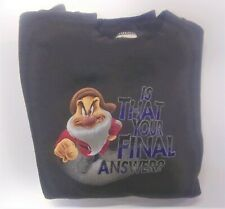 """Vintage Disney Sweatshirt  Grumpy""""Is that your final answer?""""  Size Large"""
