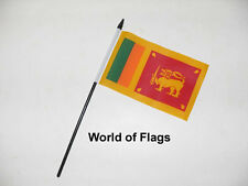 "SRI LANKA SMALL HAND WAVING FLAG 6"" x 4"" Sri Lankan Craft Table Desk Top Display"