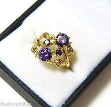 Gorgeous 18k Gold Filled Ring with Amethyst Cluster Bling Size 8
