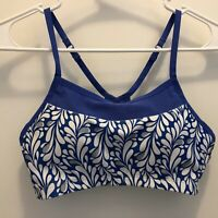 Moving Comfort Sports Bra Blue Floral Mesh Racerback High Impact Run S 32AB-34A