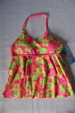 NEW Girls Tankini Top Swimsuit Large 10 - 12 Pink Floral Halter Top Bathing Suit