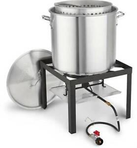 Crawfish Boil Pot Outdoor Propane Burner Cooker Seafood Boiling Shrimp 60 qt