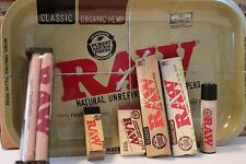 RAW ROLLING PAPER KING SIZE COMBO TRAY+PAPERS+TIPS+ROLLING MACHINE+LIGHTER