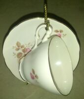 Royal Ascot Fine Bone China Made In England Cup and Saucer White and Pink Floral