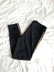 Hush Woman Black Leggings With Gold Stripe Size L Minimalist Worn Once