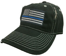 Thin Blue Line Hat Cap police law enforcement American flag Support BLACK LEO