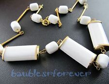 Vintage Single Strand White Lucite Plastic Barrel Bead Necklace New Old Stock