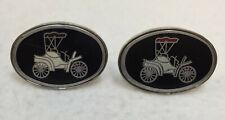 Cufflinks Cuff Links Model T Car Enamel Vintage Silver Tone Metal Pair Old Cars