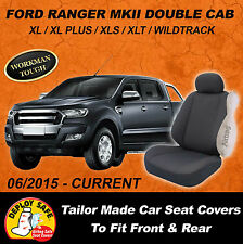Canvas Car Seat Covers Ford Ranger MKII Double Cab Front & Rear 06/2015 - Curent