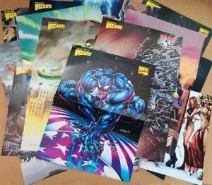 Mixed lot of 50 different comic posters Marvel Image Dark Horse Wizard Chaos