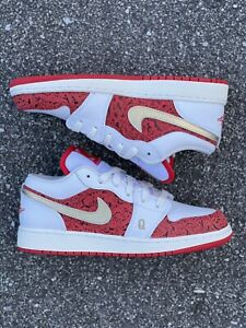 Nike Air Jordan 1 GS Low SE Spades White Red DJ5186-100 Size 6Y