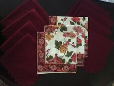 Rayon  8 Burgundy Napkins scalloped edges and 3 patterned matched 1970's