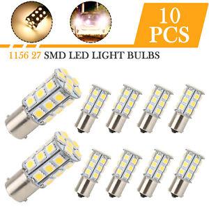 10pcs Warm White LED 1156 27-SMD RV Camper Trailer Interior Light Bulbs 1141 12V