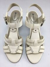 Gianni Bernini Agatha Leather Women's Open Toe Heels Sandals Ivory Sz 9