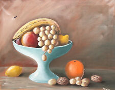 1991still life with fruits oil painting signed