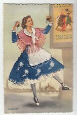 [43104] Old Spanish Postcard with Glossy Floss Thread Flamenco Dancer
