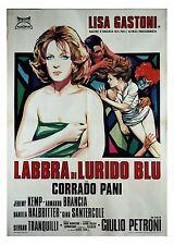 manifesto 2F originale LABBRA DI LURIDO BLU Lisa Gastoni Corrado Pani 1975