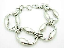 PLATINUM STAINLESS STEEL UNIQUE CHUNKY CIRCLE LINK DESIGN FASHION BRACELET GIFT