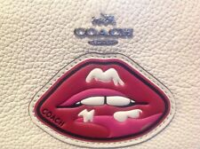 NWT,  Limited & out of stock white leather Coach zip wallet with red lip patch