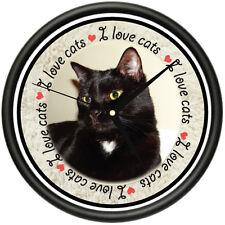 I LOVE CATS 2 Wall Clock cat lady kitty breeder animal lover veterinarian gift