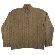 Polo by Ralph Lauren Mens XL 100% Silk Mock Neck Brown Cable Knit Sweater