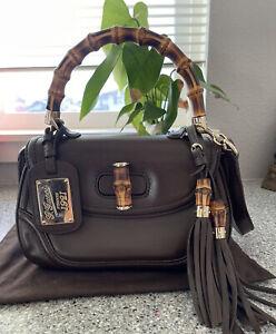 Authentic Gucci Vintage Bamboo Brown Crossbody Satchel Handbag